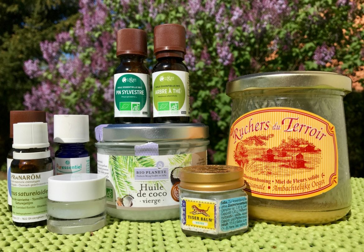 Natur alternative Medizin Reiseapotheke unterwegs vanlife reisen roadtrip gesund Heilmittel Teebaum Kokosöl ätherische Öle Honig Tigerbalm Insektenstich Sonnenschutz Sonnenbrand Erkältung Grippe Thymian Lavendel Difffuser Labello Lippenbalsam Lipbalm