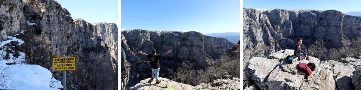 UNESCO Geopark Vikos Schlucht wandern Wanderweg Rundgang Monodendri Oxia Aussichtspunkt Weltrekord Guinnessbuch tiefste der Welt Europa Griechenland Norden Winter Schnee Kloster Wikiloc Patascha Drohne Drohnen